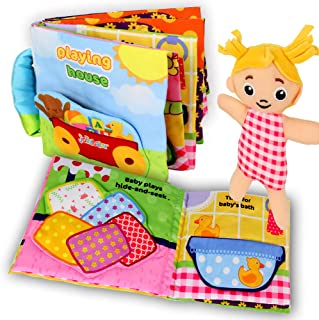 beiens My Quiet Books 8 Theme - Ultra Soft Baby Books Touch and Feel Cloth Book, 3D Books Fabric Activity for Baby /Toddle...