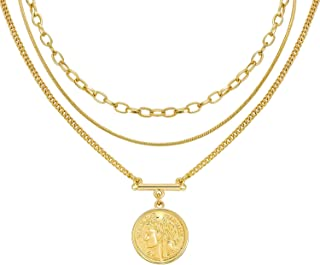 LANE WOODS Layered 18k Gold Plated Necklaces for Women - Multilayer Coin Medallion Pendant Necklace Adjustable Layering Ch...