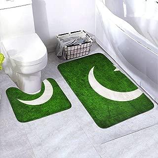 Vintage Pakistan Flag Non-Slip Bath Mat Contour Rug Set Toilet Rug Set Rugs Bath Mats, Dry Quickly, 2 Piece, 24
