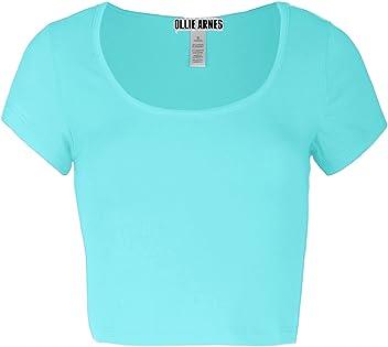 OLLIE ARNES Womens Slim Fit Scoop Neck Shortsleeve Solid Crop Tops