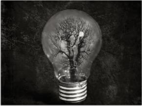 """JP London PAPXS1X776645 Solvent Free Poster Art Print Black White Lightbulb Freedom Tree Ready to Frame Wall 8"""" by 10"""""""