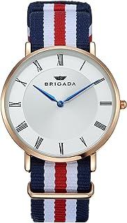BRIGADA Fashion Casual Minimalist Watch For Men Waterproof Rose Gold Case Business Casual Men's Wrist Watch