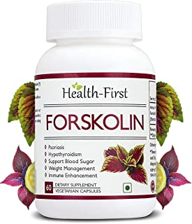 Health First Forskolin 20% coleous Highest strength in market for Healthy Weight Loss & Blood Sugar Support, 500 Mg, 60 Capsules (60 Capsules)