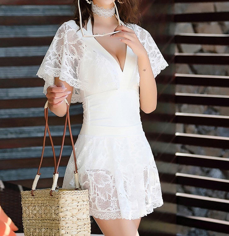 Homee Badeanzug Strand Rock - Badeanzug Spitze Badeanzug Frauen Bikini Zweiteilige Conservative Spa Badeanzug,Wei,M