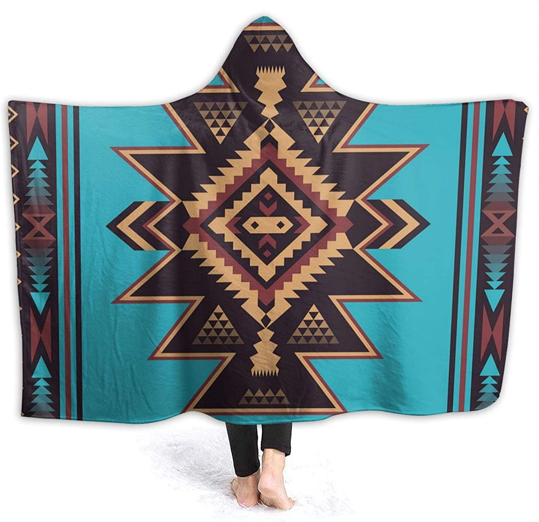 Seven Tribes Lake Hooded Blanket Geometric Retro Rave Festival Aztec Abstract Tribal Fold Cheveron Ziz Zag Colorful Throw