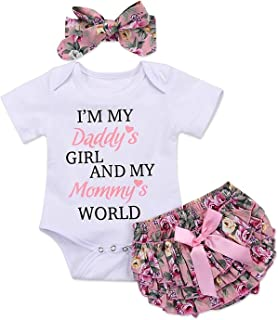 3pcs Newborn Baby Girls Outfits Daddy's Girl White Short Sleeve Romper Floral Bow reffles Shorts Bowknot Headband Outfits