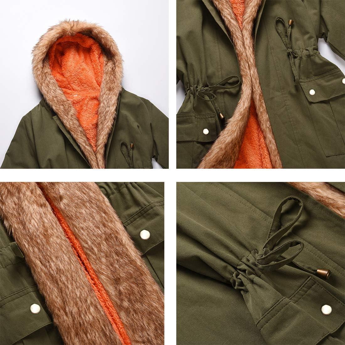 Omoone Women's Thick Warm Faux Fur Lined Hooded Coat Fleece Lined Parkas Mid Long Sherpa Windbreaker Jacket
