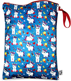 Wet/Dry Bag,Waterproof Reusable Baby Cloth Diaper Wet Dry Bag with Zipper Snap Handing,Travel Pool Daycare Soiled Baby Item Yoga Gym Bag for Swimwear Bathing Suit or Wet Clothes,1pcs,Happy Unicorns
