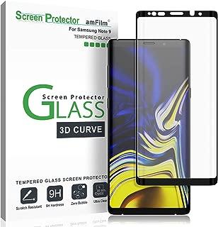 Galaxy Note 9 Screen Protector Glass, amFilm Full Cover (3D Curved) Tempered Glass Screen Protector with Dot Matrix for Samsung Galaxy Note 9 (Black)