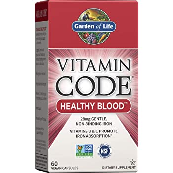 Garden of Life Vitamin Code Iron Supplement, Healthy Blood - 60 Vegan Capsules, 28g Iron, Vitamins B, C, Trace Minerals, Fruit Veggies & Probiotics, Iron Supplements for Women Energy & Anemia Support