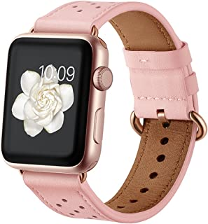 Leather Band for Apple Watch 38mm 40mm/42mm 44mm,iwatch Series 1 2 3 4 Pink Replacement Strap with Rose Gold Stainless Steel Buckle Clasp
