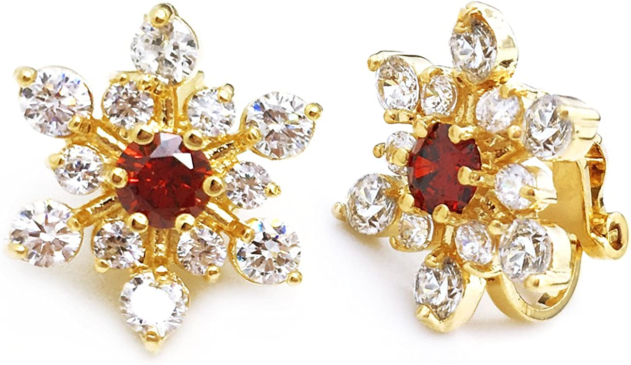 Snowflake CZ Clip On Earrings Red Gold Plated Women Fashion