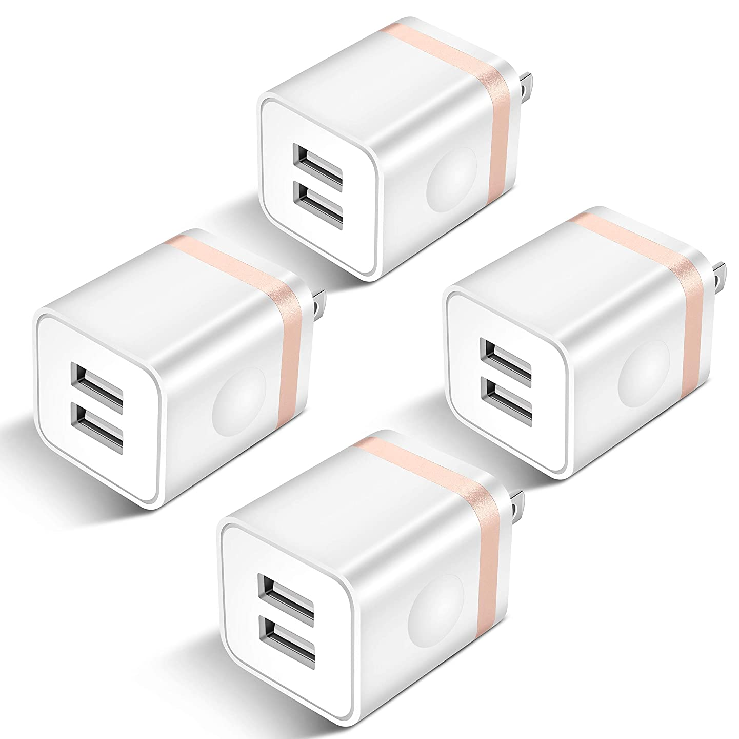USB Wall Charger, STELECH 4-Pack 2.1Amp 2-Port USB Plug Cube Power Adapter Charger Block Compatible with Phone Xs Max/Xs/XR/X/8/7/6 Plus/5S, Samsung, LG, Moto, Nokia, Kindle, Android Phone -Upgraded