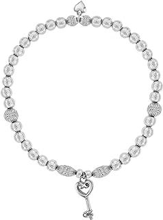 Lily & Lotty 镀铑 925 纯银手工镶嵌钻石 Kiki 小钥匙坠饰手链 长 19 厘米