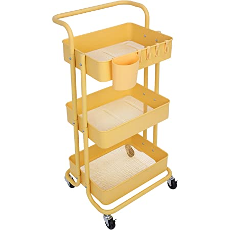 OVAKIA 3 Tier Metal Utility Rolling Cart Heavy Duty Storage Shelves with Lockable Wheels Mobile Organizer Cart for Kitchen Bathroom Office Multifunction Service Trolley with Mesh Baskets(Yellow)