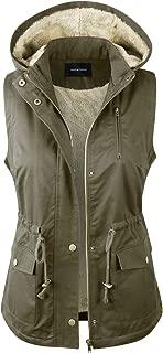 Women's Detachable Hooded Faux Fur Lined Anorak Utility Jacket Vest