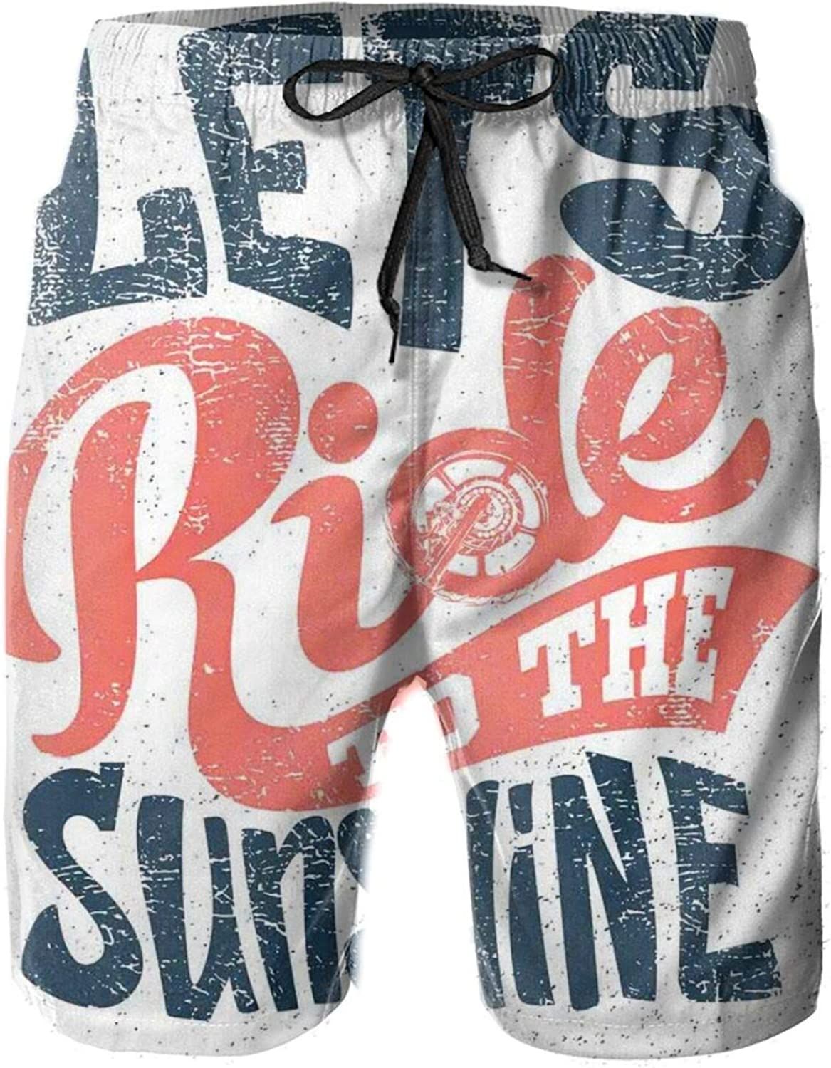 Lets Ride to The Sunshine Summer Biker Quote Grunge Freedom Message Drawstring Waist Beach Shorts for Men Swim Trucks Board Shorts with Mesh Lining,L