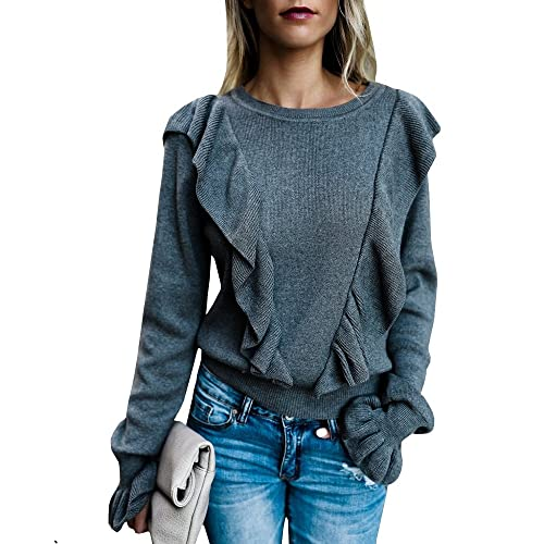 a1e71abc96f65 Imily Bela Women s Crew Rib Ruffle Front Puff Long Sleeve Blouse Sweater  Crop T Shirts