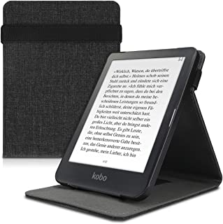 kwmobile Cover for Kobo Clara HD - PU Leather e-Reader Case with Built-in Hand Strap and Stand - Grey Grey 48379.19