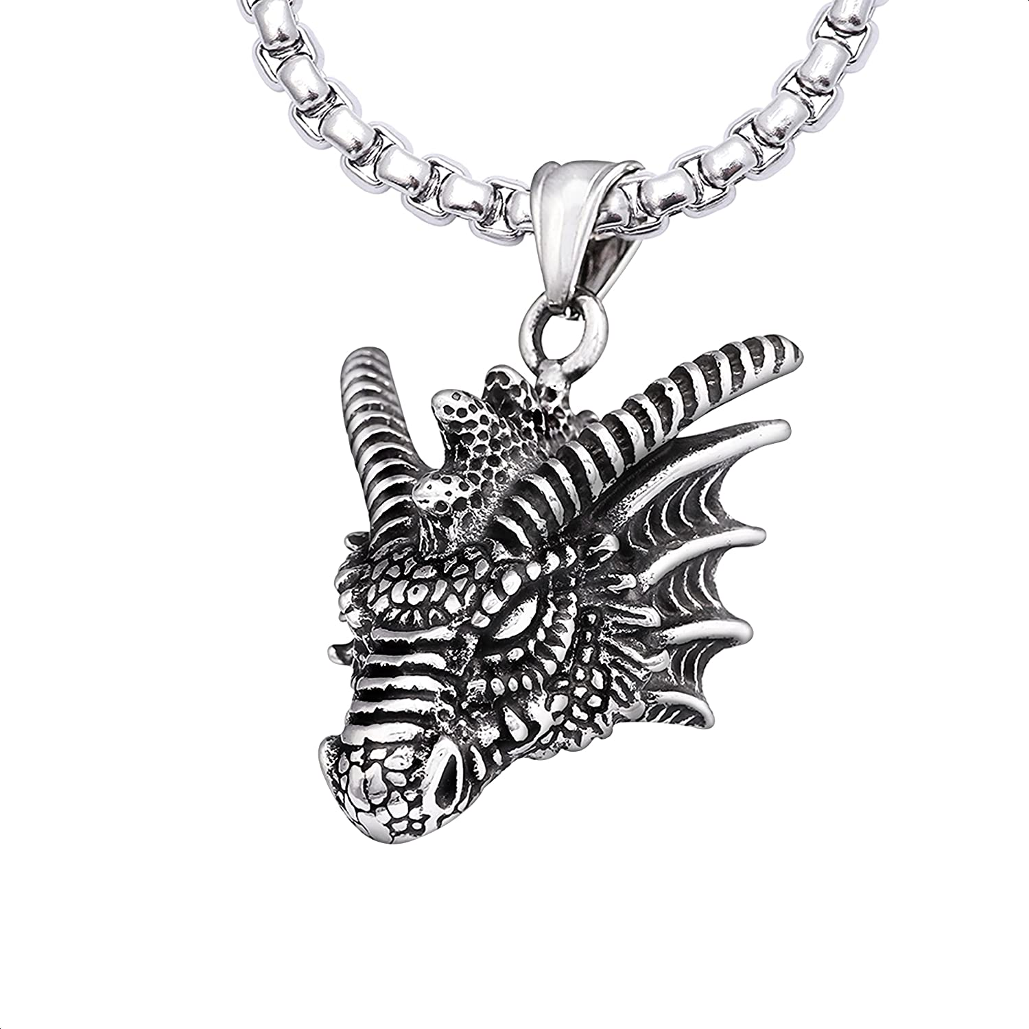 HAQUIL Dragon Necklace, Stainless Steel Dragon Head Pendant with Wheat Chain, Medieval Fire Dragon Jewelry Gift for Men and Women