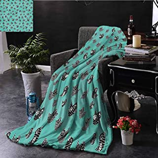 Turquoise Decor Collection Comfortable large blanket Pattern of Flying Cute Birds Striped Paper Cut Diy Springtime Romantic Art Microfiber blanket bed sofa or travel W60 x L50 Inch Dark Mint Black Wh