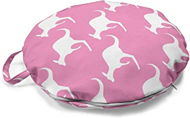 Ambesonne Kangaroo Round Floor Cushion with Handle, Silhouette of Jumping Adult Kangaroo Animal Pattern in Diagonal Alignment