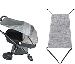 Sonnensegel für Kinderwagen Babywanne, Universal reißfester Sonnenschutz mit UV Schutz Beschichtung 50 und Rollo-Funktion, flexibles Sonnenverdeck für Babys Sonnensegel, Grau