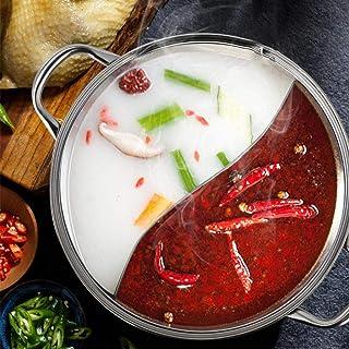 Marmite en Acier Inoxydable, Fondue Chinoise Hot Pot en Acier Inoxydable De Canard Mandarin avec Séparateur, Convient pour...
