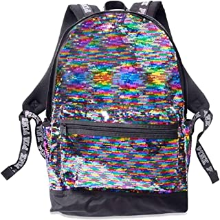 Victoria's Secret Pink Backpack Rainbow Sequin Sequins Large Campus Style