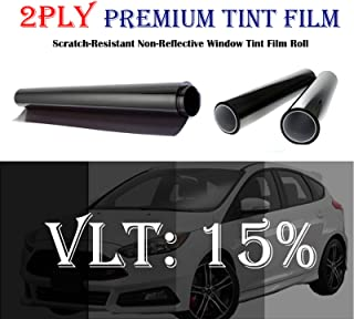 Mkbrother 2PLY 1.5 mil Premium 15% VLT 36 in x 15 Ft (36 x 180 Inch) Feet Uncut Roll Window Tint Film Auto Car Home