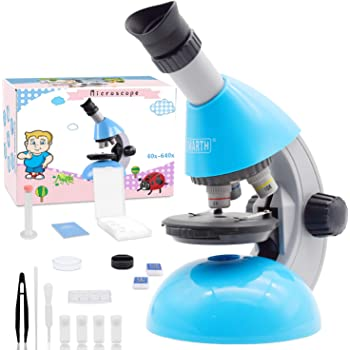 Emarth Microscope, Kids Microscope 40X- 640X with Science Kits Beginners Microscope Includes 25 Slides for Student Children-Blue