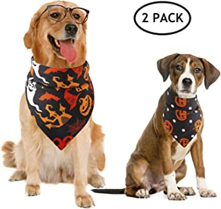 BWOGUE 2 Pack Halloween Dog Bandanas Pet Black Halloween Pumpkin Wizard Pattern Triangle Scarf Accessories for Small to Large Dogs Halloween Party
