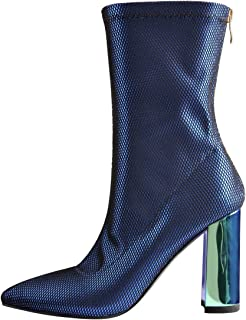Women's Holorgraphic Chunky Heel Mid Calf Boots Pointed Toe Stretch Sock Booties in Satin