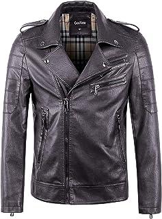 b9ff34409205a chouyatou Men s Vintage Asymmetric Zip Lightweight Faux Leather Biker Jacket