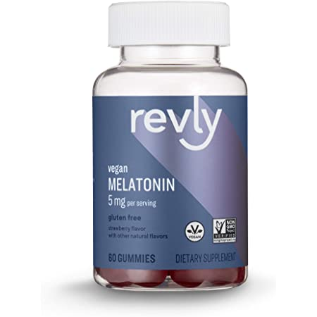 Amazon Brand - Revly Melatonin 5 mg, Strawberry Flavor, Helps with occasional sleeplessness, 60 Gummies (2 per Serving), Vegan, Non-GMO