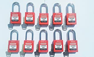 BnC Safety Lockout Padlock Red 1 1/2 inch 38mm Shackle Keyed Different 10 Pack