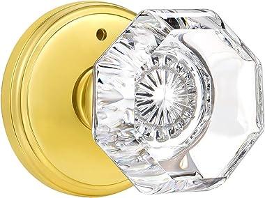 CLCTK Glass Door Knobs Interior with Lock, Privacy Octagon Crystal Door Knobs for Bed/Bathroom, Polished Brass, BMB-002