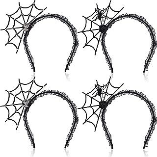 WILLBOND 4 Pieces Spider Web Hair Hoop Halloween Headband Spider Web Headress for Women Girls Cosplay Party Accessories