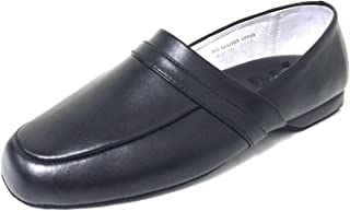 G4U-XC BL23A Men's Leather Slipper Close Back Leather Lining Sole Comfort in Door Loafer House Shoes Extra Wide (EEE)