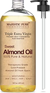 Majestic Pure Sweet Almond Oil, Super Triple A Grade Quality, 100% Pure and Natural from Spain, Cold Pressed, 16 fl oz.
