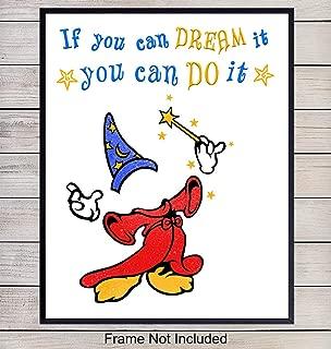 Mickey Mouse Motivational Art Print - Inspirational Wall Art Poster - Unique Home Decor for Boys, Girls, Kids Room, Bedroom - Gift for Walt Disney World, Disneyland Fans, 8x10 Photo Unframed