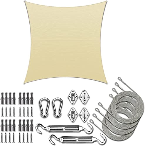 discount ColourTree 2021 14' x wholesale 14' Beige Square Sun Shade Sail with Rectangle Hardware Kit (Hardware Kits + Cable Wires) outlet sale