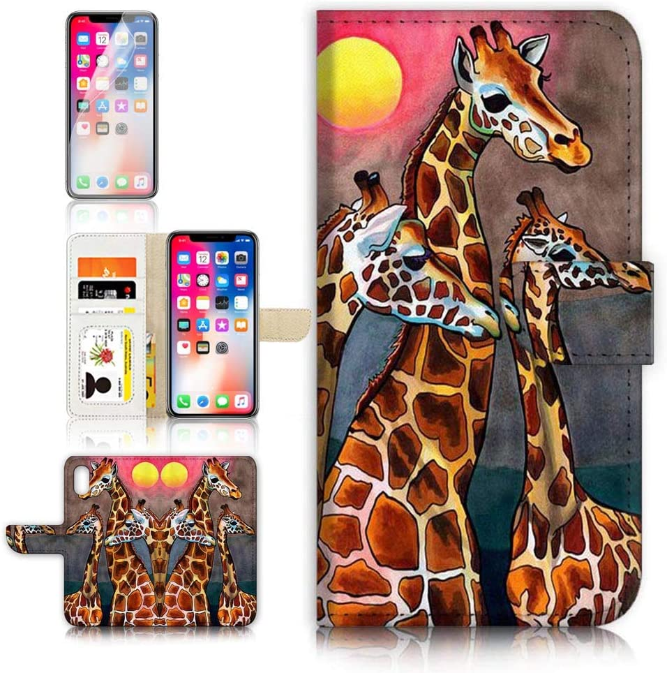 (for iPhone XR) Flip Wallet Case Cover & Screen Protector Bundle - B31140 Giraffe