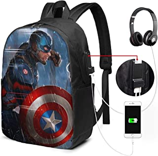 Ca-Ptain America Backpack Heavy Comfortable Waterproof And Durable With Usb Charging Port And 17 Inch For Women Men College School Student Gift Bookbag Casual Hiking Daypack
