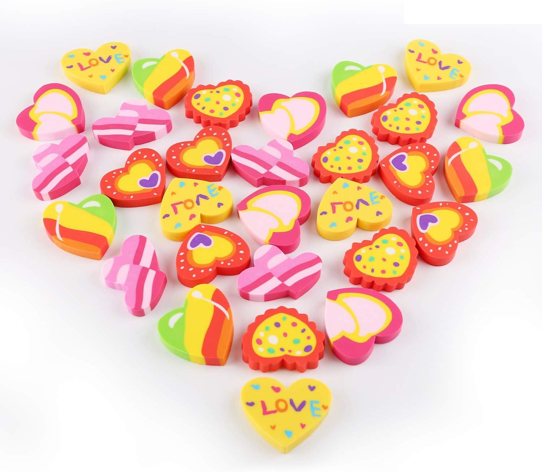 Konsait 3 Dozen Max 43% OFF 36 Valentines Heart Ass Award-winning store Rubber Erasers