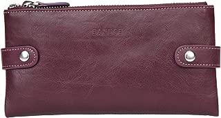 Full Grain Leather Long Bifold Wallet for Women Zipper Clutch Purse Multi Card Organizer