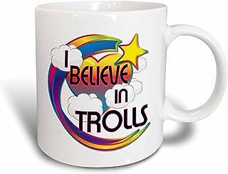 3dRose Trolls Cute Believer Design Ceramic Mug, 15 oz, White, 11.43 x 8.45 x 12.7 cm