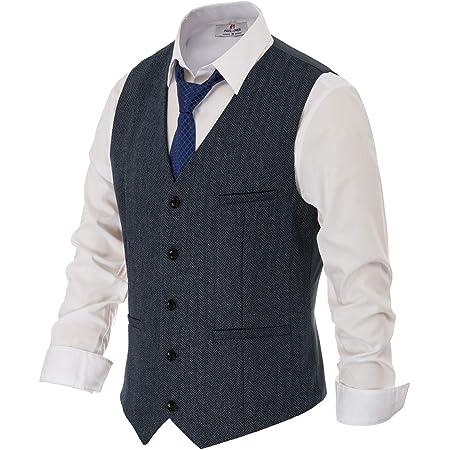 PAUL JONES Men's British Herringbone Tweed Vest Premium Wool Waistcoat, Navy Blue, XXXL
