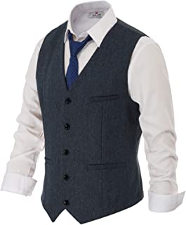 navy blue suit with tweed waistcoat