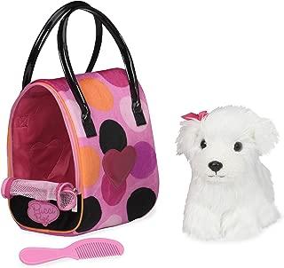 Pucci Pups by Battat – Bichon Frisé Stuffed Puppy with Colorful Polka Dot Stuffed Animal Bag